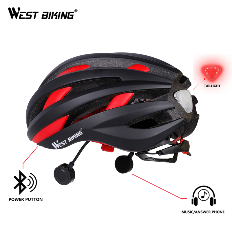 WEST BIKING Ultralight Bicycle Helmet Bluetooth Navigation USB Integrally-molded Cycling Helmets with Taillight EPS Bike Helmets