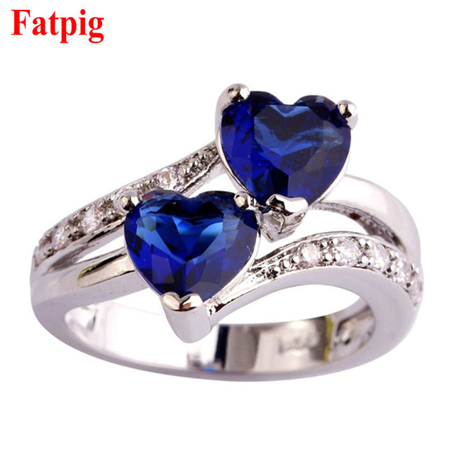 Fatpig Double Heart Rhinestones Ring Women Wedding Engagement Rings Size 6 7 8 9