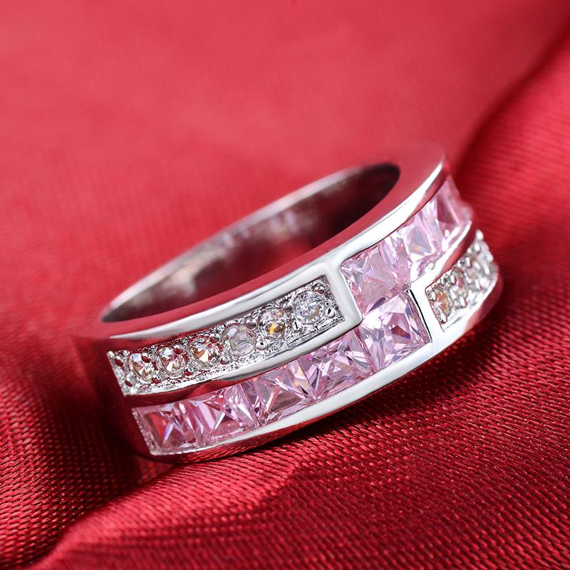 Sliver Color Luxry Wedding Ring Engagement Pink & Clear AAA CZ Crystal Jewelry For Women with Austrian Crystal R532