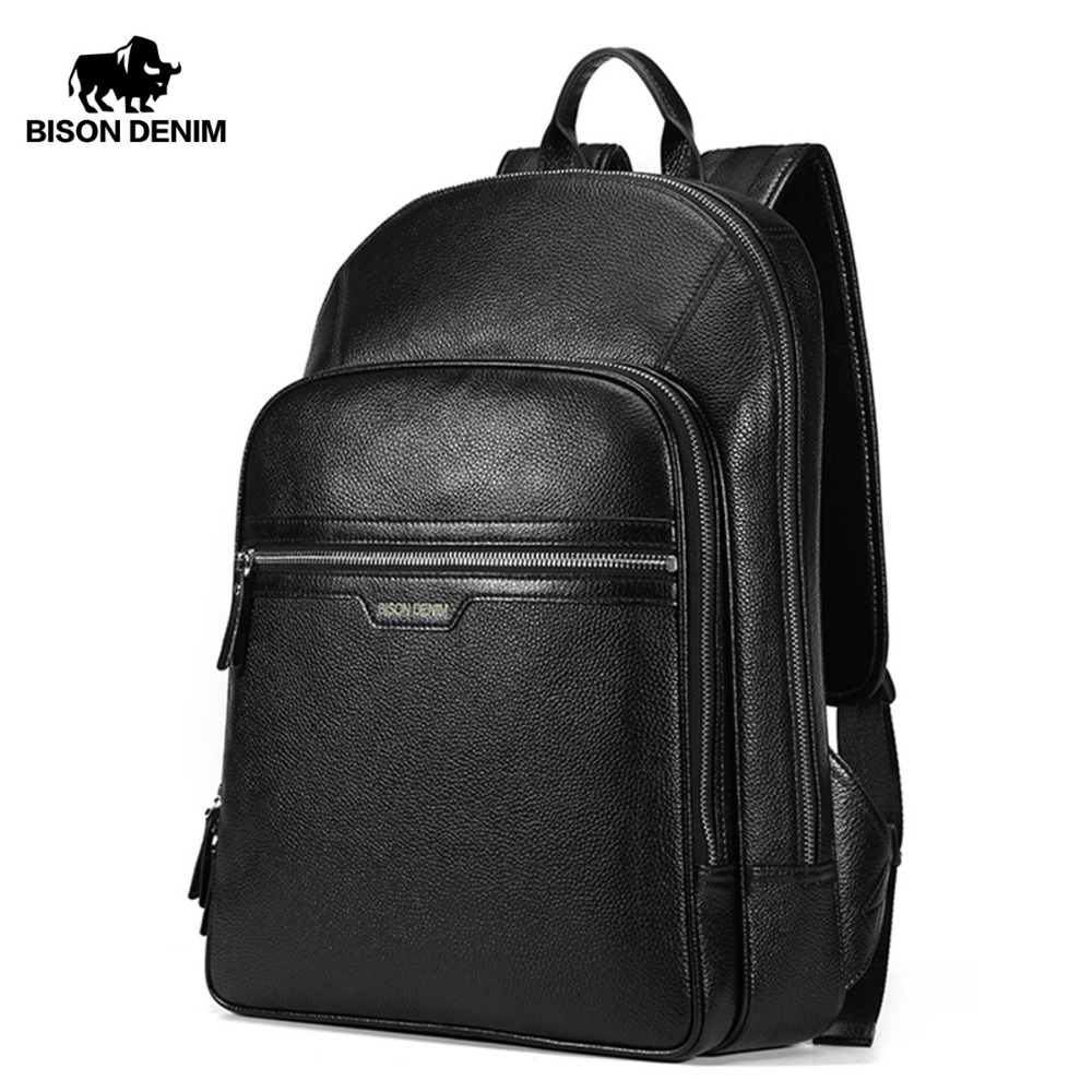 BISON DENIM Tulen Laptop Kulit Ransel Lelaki Kanken Backpack Backpack Backpack Lelaki Fesyen Backpack Bag Sekolah Untuk Lelaki N2337