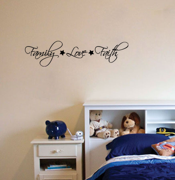 FAMILY LOVE FAITH Stars Wall Decal Decor Vinyl Quote Lettering - Custom vinyl wall decals sayings for homecustom wall decal quotes custom wall quote two colors decal