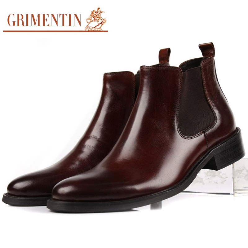 Gri Для мужчин Олово кожаные сапоги для Для мужчин ботильоны челси Классические формальные слипоны острый носок чёрный; Коричневый Мужской п