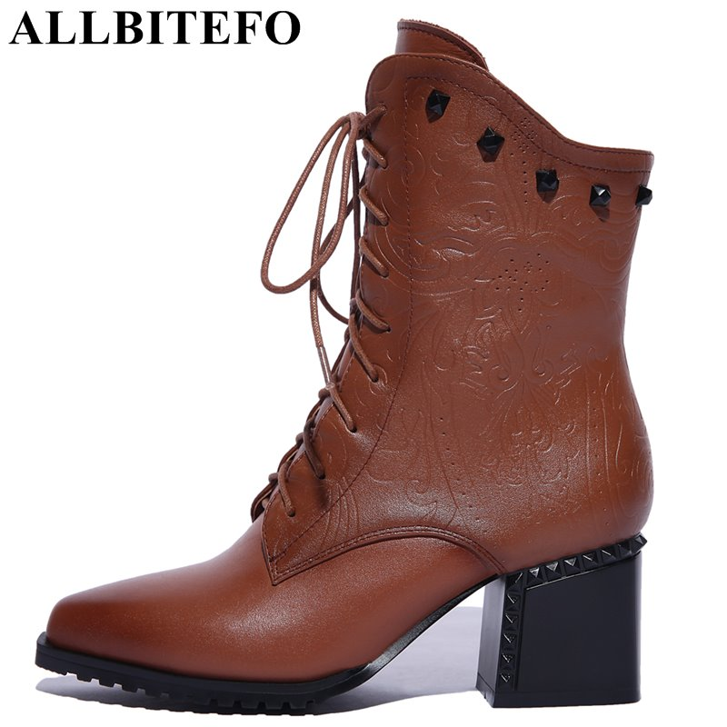 ALLBITEFO genuine leather pointed toe thick heel women boots fashion rivets medium heel winter boots girls boots size:33-42