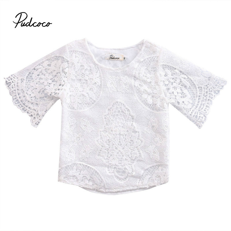 Pudcoco T-Shirt Long-Sleeve Floral Baby-Girls Cotton Fashion White Lace O-Neck Blend