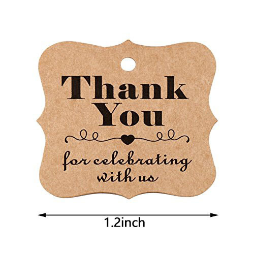 100pcs Thank You paper tags for baby shower party favors gift tags handmade tags decoration wedding gifts for guests in Party Favors from Home Garden