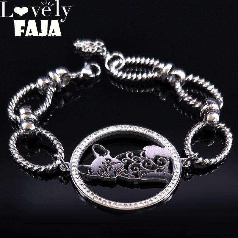 2019 Französisch Bulldog Kristall Edelstahl Kette Armband Für Frauen Silber Farbe Armbänder Armreifen Schmuck Bisuteria B18178