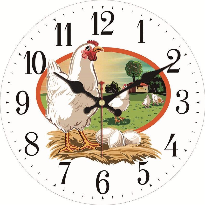 WONZOM Vintage Wall Clock Hen Egg Design Relogio De Parede Large Silent For Living Room Horse Saat Decor Kitchen Watch Wall Gift