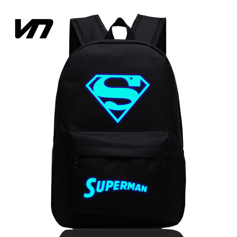 2016 VN Brand New Fashion Luminous Backpacks For Kids Superman Backpacks For Teenagers Boy Girls Schoolbags