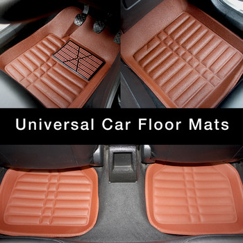 Universal Car Floor Mats For Front and Rear Row Car Styling waterproof Floor Mats 2018 New Brown carpet