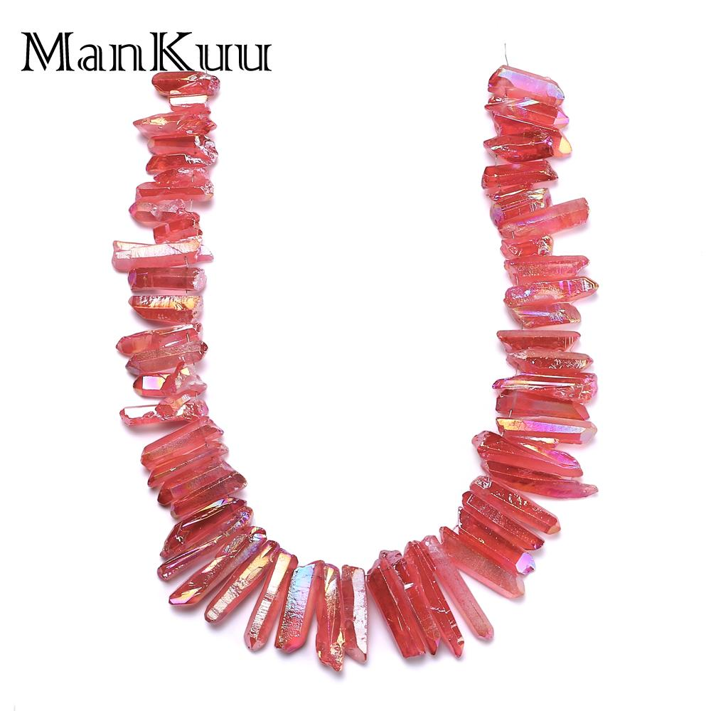 купить Mankuu Red Plating Crystal Pillar Natural Irregular Raw Crystal Bead For Jewelry Making Wholesale Natural Stone Beads 50pcs/Lot по цене 1104.28 рублей
