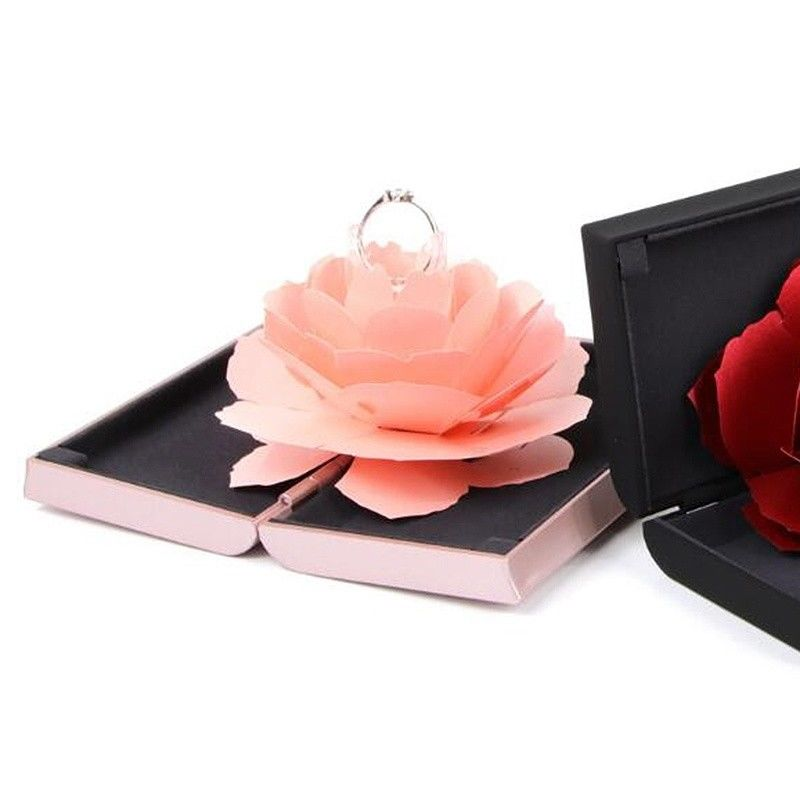 NEW Wedding Marriage Rotating Rose Ring Box Lovely Velvet Wedding Engagement Box For Ring Jewelry Storage Display Gift BoxNEW Wedding Marriage Rotating Rose Ring Box Lovely Velvet Wedding Engagement Box For Ring Jewelry Storage Display Gift Box