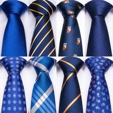 DiBanGu Blue Striped Silk Mens Ties With Hanky Cufflinks Set Jacquare Woven Neck For Men Necktie Barry.Wang Hi-tie