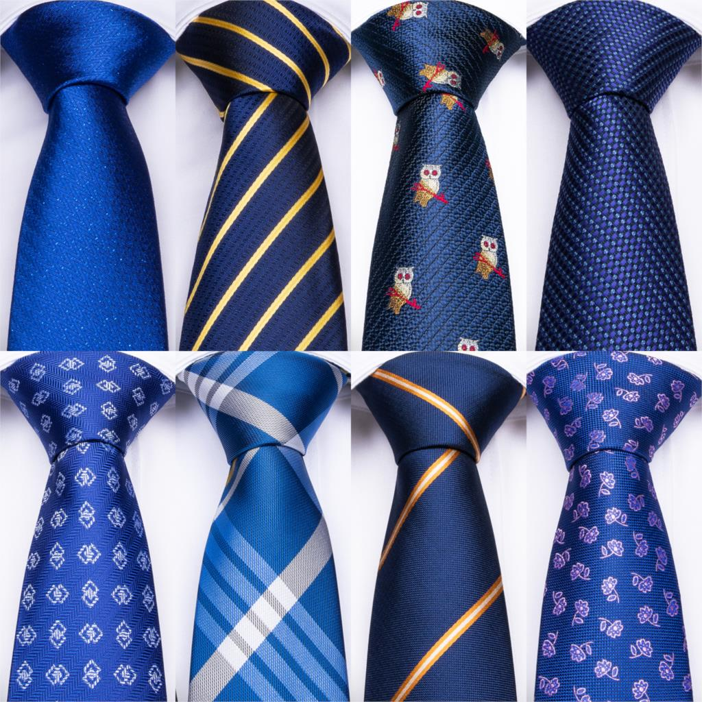 DiBanGu Blue Striped Silk Mens Wedding Ties With Hanky Cufflinks Set Jacquare Woven Neck Ties Set For Men Necktie Fashion