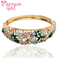 Fancyde Girl Gold Plated Austrian Crystal Bracelet Bangle For Women Charm Bracelet Bangle Colorful Flowers Round Jewelry