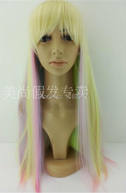 cosplay perruque arc en couleur droite synthtique perruque de cheveux multi couleur lolita perruque - Perruque Colore