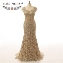 Stunning Cap Sleeves Gold Lace Mermaid Mother of the Bride Dress Keyhole Back Sweetheart Gold Beaded Sash Formal Dress MOB Dress