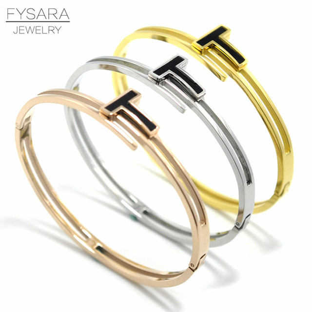 950c777b79e FYSARA Cuff Lover Bangle For Women Gold-Color Stainless Steel Jewelry  Luxury Brand Inlay Resin Black T Letter Bangles Bracelets