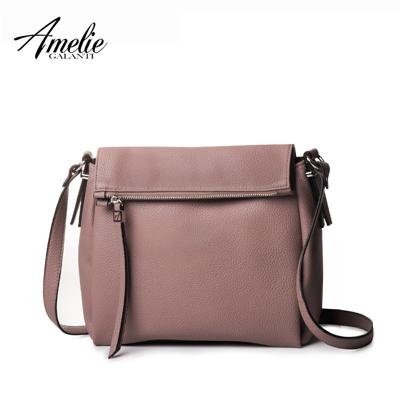 AMELIE GALANTI 2017 Woman crossbody bag solid casual zipper versatile shoulder bags 5 color High quality PU Famous Brand fashion amelie galanti brand tote handbag
