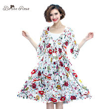 BelineRosa 2017 Women Dresses Summer Japanese Style Floral Printed Short Sleeve Printing Dresses Women XM000078