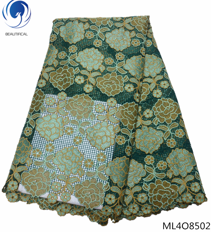 BEAUTIFICAL high quality lace fabric african organza lace 2019 sequin lace fabric for wedding dress design 5yards/lot ML4O85BEAUTIFICAL high quality lace fabric african organza lace 2019 sequin lace fabric for wedding dress design 5yards/lot ML4O85