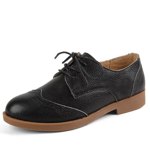 O16U Full Grain Grain Full Leder Female Oxfords Flats Schuhes Brogue Style Lace Up Rubber S a7b95b