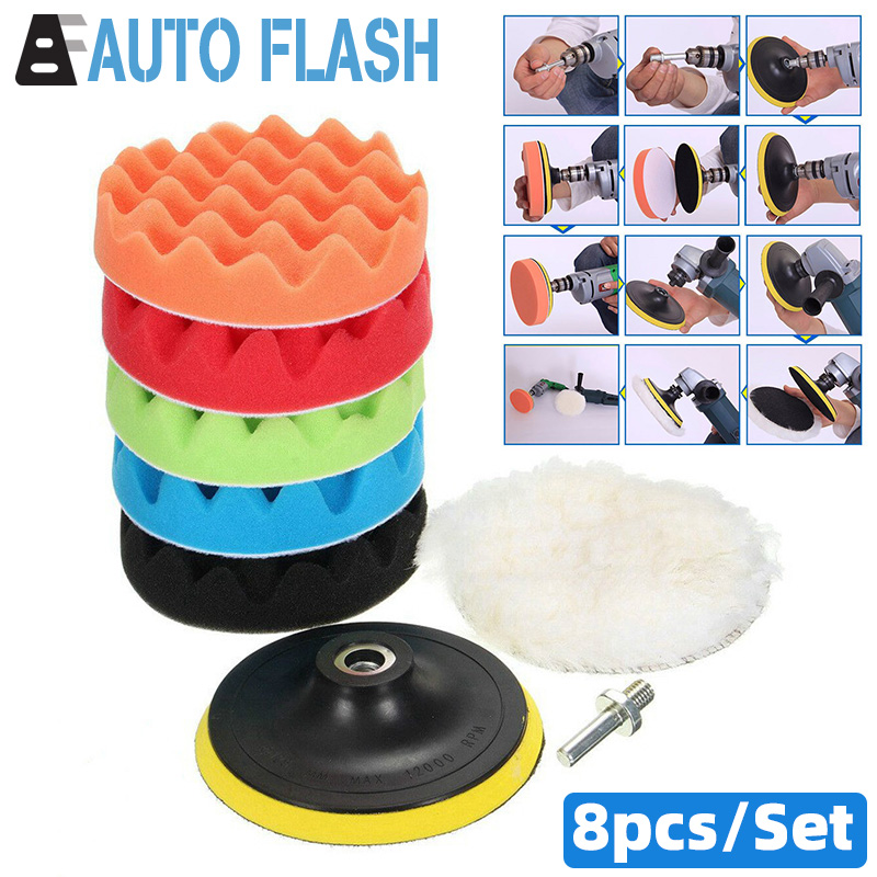 8Pcs/Set Car Polishing Pad 3/4/5/6/7 Inch Sponge Buffing Waxing Polish Buffer Drill Wheel Polisher Removes Scratches Paint Care(China)
