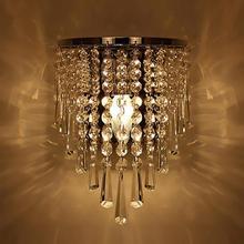 Современная хрустальная настенная лампа, хромированная бра, настенный светильник для гостиной, ванной комнаты, украшения для внутреннего освещения, лампа в комплект не входит