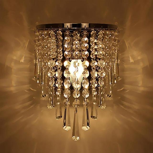 מודרני קריסטל מנורת קיר כרום פמוט קיר אור רחצה סלון בית מקורה תאורת קישוט הנורה לא כלול
