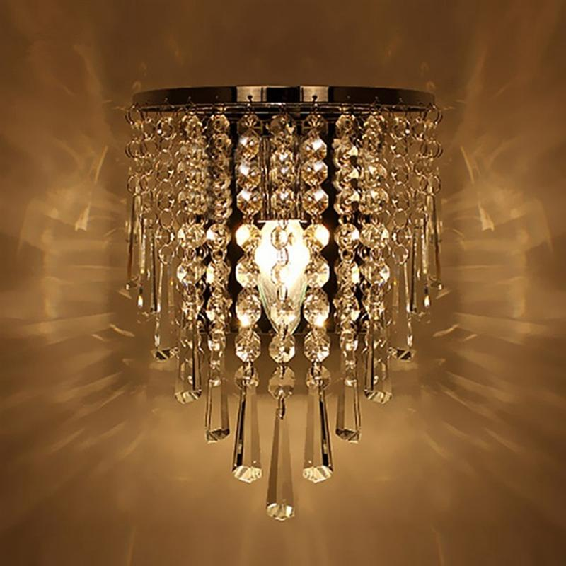 Modern Crystal Wall Lamp Chrome Sconce Wall Light For Living Room Bathroom Home Indoor Lighting Decoration Bulb Not IncludedLED Indoor Wall Lamps   -