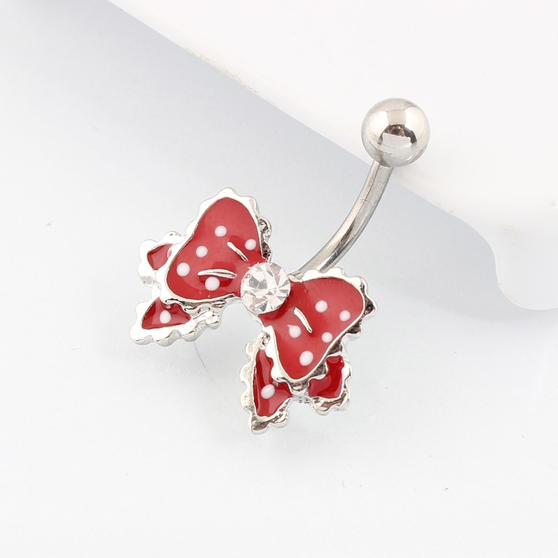HTB1o2ZnKVXXXXcWXXXXq6xXFXXXw Cute Polka Dot Ribbon Bow Navel Piercing Ring Jewelry For Women - 4 Colors