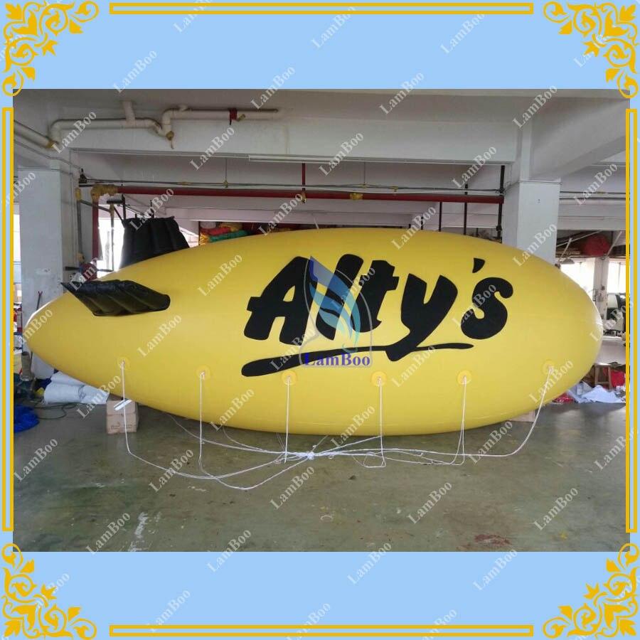6 m/19.6ft adverizador inflable Airship cuerpo amarillo, dirigible inflable imprimir su logotipo, impresión Digital Zeppelin inflable