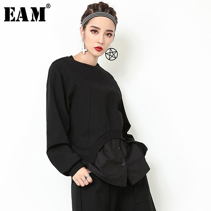 [EAM] 2019 New Spring Round Neck Long Sleeve Black Loose Hem Split Joint Personality Loose Sweatshirt Women Fashion Tide JO129