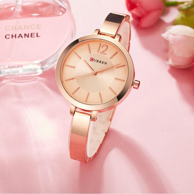 CURREN Woman Quartz Watches 2018 Top Brand Woman's Casual Sports Watch Ladies Fashion Rose Gold Wristwatch Relogio Feminino