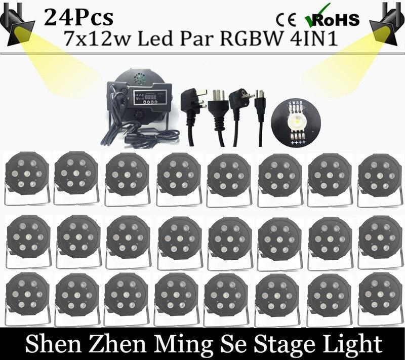 Fast shipping 2s 7x12w led Par lights RGBW 4in1 flat par dmx512 disco professional stage dj equipment