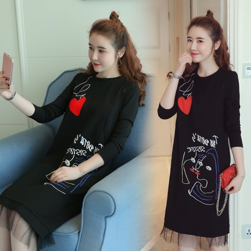 Pregnant Rushed Cotton Broadcloth Full A-line Character Knee-length Boat Neck New Winter Maternity Nursing Dress Long Sleeved.
