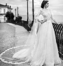 Free Shipping Newest Design A Line Bridal Gown Dress Off The Shoulder Lace Wedding Dress With Half Sleeves MF649