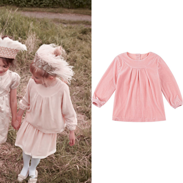 f12ac566f55d9 Girls' Clothing Royal Style Noble and Elegant Meat Powder Retro Pleated  Small Lantern Sleeves Velvet Top