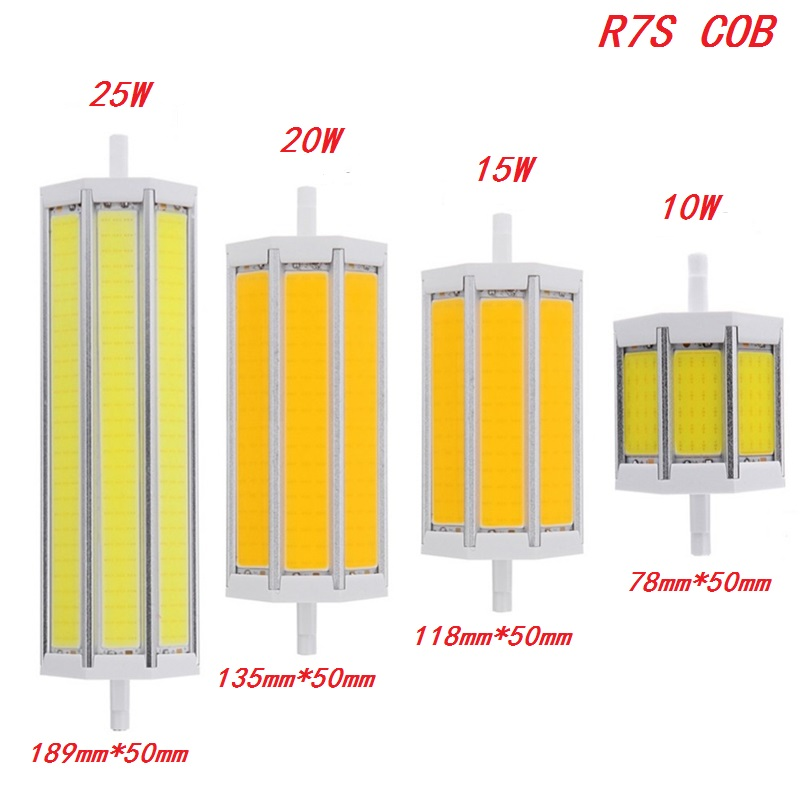 R7s cob led bulb dimmable lights j78 10w 78mm j118 15w 118mm j135 20w 135mm 25w 189mm lighting for R7s led 118mm 20w