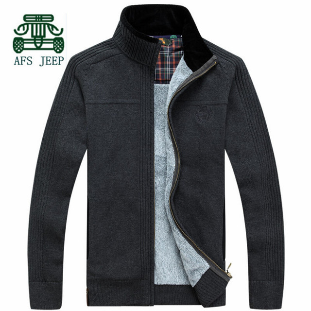 AFS JEEP 2015 Winter Cashmere Inner Cardigan Warmly Sweater,High Quality thick Man Knitted Cotton Casual Outwear,Europe Size