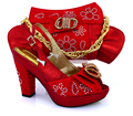 КРАСНЫЙ Африканский Женская Обувь С Мешком На Соответствие Последним Стразы Насосы Итальянские Туфли И Соответствующие Сумки Для Партии VB1-91