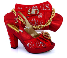 RED African Women Shoes With Bag To Matched Newest Rhinestones Pumps Italian Shoes And Matching Bag Set For Party  VB1-91