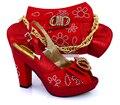 Africano VERMELHO Sapatas Das Mulheres Com Saco Para Combinava Mais Novo Strass Bombas Sapatos Italianos E Saco de Harmonização Definido Para O Partido VB1-91