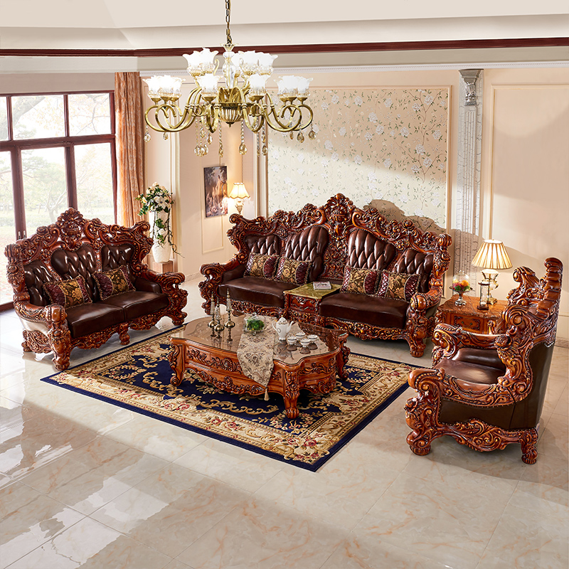 Modern Top Luxury Solid Wood Leather Sofa Cama Set Living Room Furniture Muebles De Sala Divano Letto Puff Sillon Koltuk Takimi