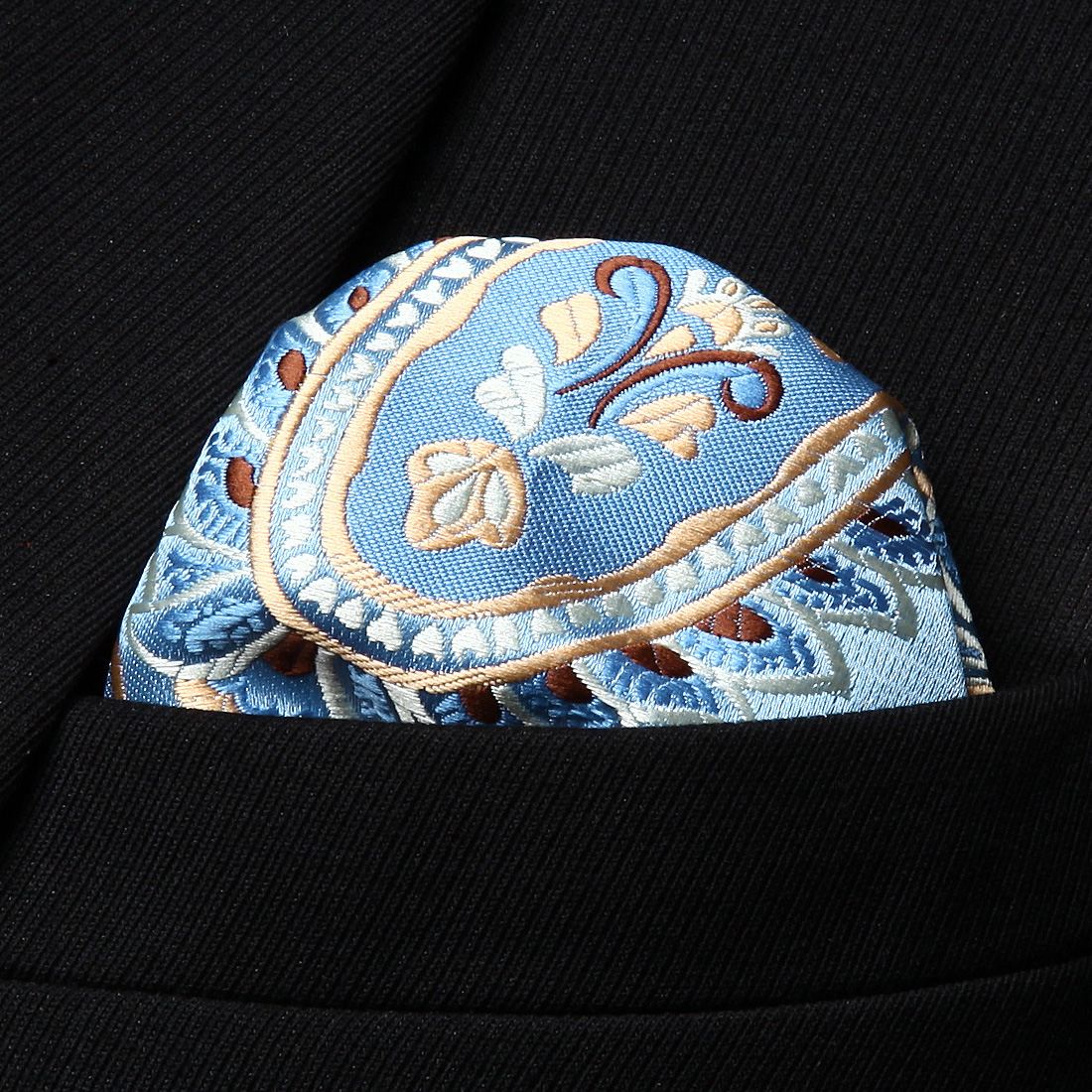 HP928B Blue Gold Paisley Men Silk Party Handkerchief Pocket Square Hanky