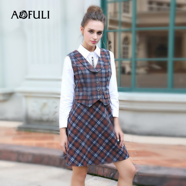 6ae929be7e662 AOFULI L- 4XL 5XL Plus size Women Dress 2017 Winter Preppy Style School  Girl Plaid Vest Dress with White Long Sleeve Tops Set
