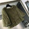 Alta qualidade real natural de pele de coelho pele de malha pulôver do revestimento das mulheres de inverno primavera outono camisola outwear casaco promoção