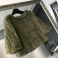High quality real natural rabbit fur knitted pullover coat women winter spring autumn fur sweater outwear overcoat promotion