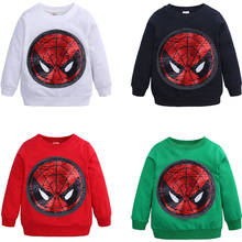 Childrens Wear Spring Autumn Long Sleeve Color Sequins Shirt Spiderman Face-changing Captain America Hoodies
