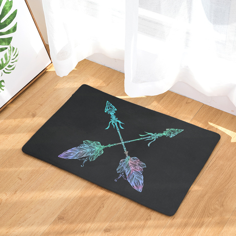 Us 7 42 50 Off Cammitever Black White Colorful Arrow Durable Entrance Door Mats Cool Rugs Light Thin Flannel Waterproof Kitchen Bedroom Carpet In