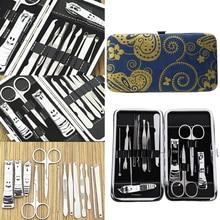 13pcs Men Women Nail Scissors Kit Nail Clipper Cutter Trimmer Cuticle Nipper Set Nail Art Manicure Tools Set with Leather Case